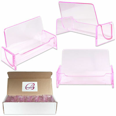 12pcs Clear Pink Acrylic Office Business Name Card Holder Display Stand Desktop