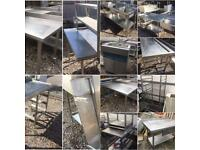 Stainless steel sinks, dishwasher tables, tables & shelves