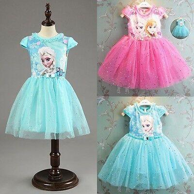 New~Girls Frozen Princess Elsa Anna HolidayTutu Dress Short Sleeve Kid Clothes
