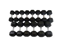 10kg - 25kg Rubber Hex Dumbbells Set - 6 Pairs - Weights Gym