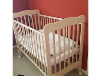 Baby cot, mattress and cover