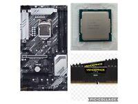 Intel i7 10700k processor, Asus z490-p motherboard,corsair vengeance 16gb 3000 speed ram