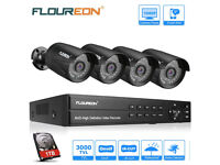 FLOUREON CCTV Security Camera System 8CH 1080N DVR + 4x 3000TVL 1080P 2.0MP Outdoor Cameras with 2TB