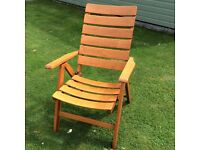 Vintage German Folding Reclining Wooden slatted Garden Chair Top Quality