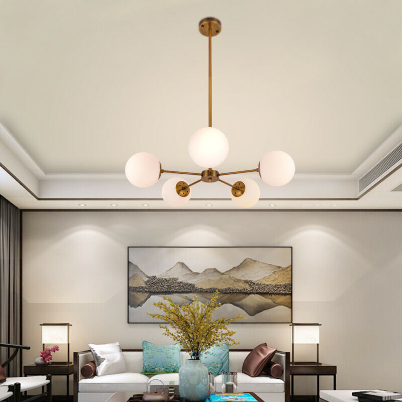 5-Light Chandelier Pendant Brushed Brass With White Frosted