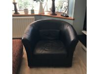 Black Leather tub chairs from IKEA x 2