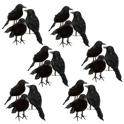 18pcs Artistic Black Feathered Crows Ravens Birds Foam Halloween Decorations