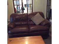 3 and 2 seater wine leather sofa