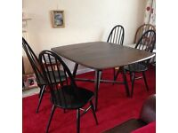Vintage Ercol Dining Table and 4 x Chair's, 1960.