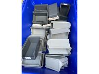 Small XL2 stacking boxes , electrical , craft etc . 37 in all