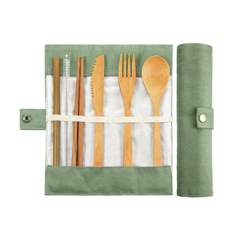 travel cutlery flatware bamboo utensils set reusable