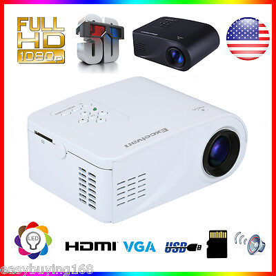 MINI Portable HD 1080P 3D Home Projector for Iphone ANDROID HDMI/USB/VGA/SD US
