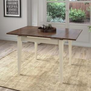 CorLiving DSH-270-T Dillon Extendable Dark Brown and Cream Dining Table with Two 8in Leaves