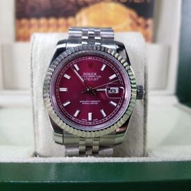 NEW ROLEX DATEJUST. Silver with burgundy face & markers. Includes Box, bag & paperwork. 1YW. £140