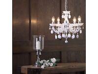 Job Lot Shabby Chic 5 Light Chandelier White Crystal Effect Pendant...£69 on ebay