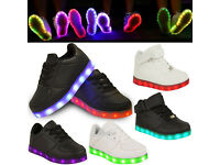 Kids Girls Boys LED Light Up Flashing Rechargeable Christmas New Years Trainers Pumps Size 10 - 3s