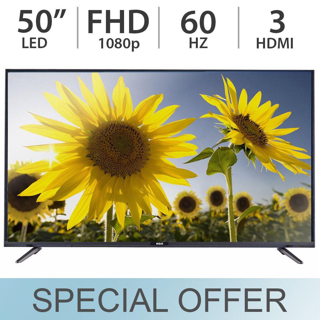 "RCA 50"" Inch 1080p FULL HD LED LCD TV 60Hz FHD w/ 3 HDMI LED50E45RH Black - NEW!"