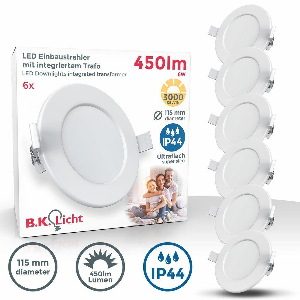 6x LED Einbauleuchten Bad Strahler Spots ultraflach Lampe Deckenspots IP44 115mm
