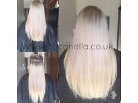 Russian Brazilian Indian virgin Remy micro nano rings fusion mobile hair extensions from £140