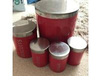FREE red kitchen canisters
