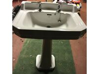 Adelphi wash hand basin and pedestal - white