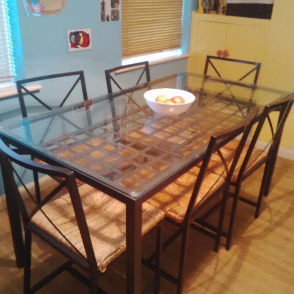 Ikea glassmetal dining table with 6 chairs 4 extra free chairs