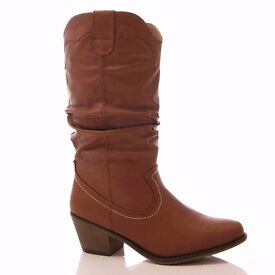 Ladies Tan Cowboy Western Low Heel Calf Slouch Boots Size 7