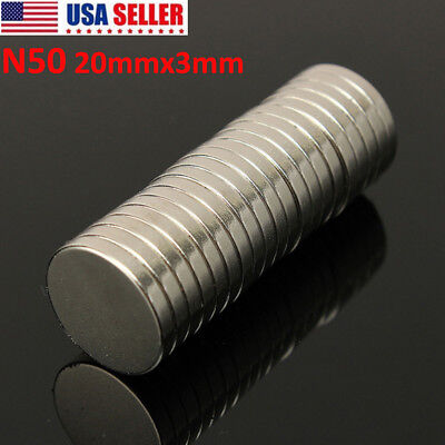 5-50pcs 20mm X 3mm N50 Super Strong Round Disc Rare Earth Neodymium Magnets Us