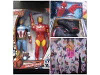 ALL JUST £20 ..SIZE 12 SPIDERMAN SCHOOL BOOTS + 7-8 YEAR OLD MARVEL TOP + AVENGERS WALKIE TALKIES