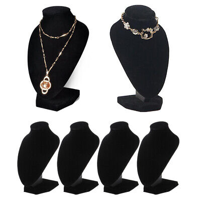 Lots 4 Black Velvet Necklace Bust Display Pendant Jewelry Stands Holder