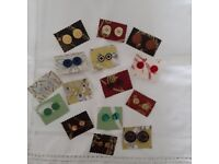 Large selection of Ladies Stud earrings,made from vintage buttons