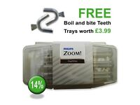 Philips Zoom 14% Teeth Whitening Gel .. Inc FREE Boil & Bite Teeth Trays & Free 1st Class Delivery..