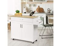 Rolling Kitchen Island with Adjustable Shelf and Large Drawer KC51983WH
