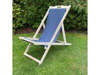 Set of Three Identical Blue Deckchairs Garden Chairs