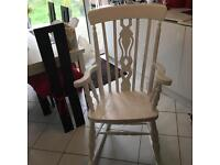 A SHABBY CHIC TRADITIONAL ROCKING CHAIR WITH THE FIDDLE DESIGN TO THE CENTRE BACK