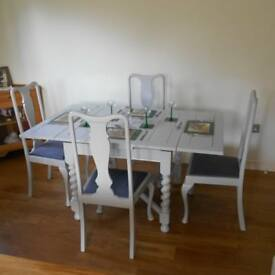 VINTAGE SOLID OAK EXTENDING TABLE AND FOUR CHAIRS PAINTED DOVE GREY