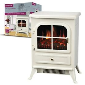 DE VIELLE CLASS ELECTRIC STOVE CREAM DEF766326 1800W LOG FLAME EFFECT