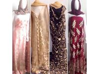 Lace fabric material with gold beading ideal wedding mehndi eid gift must buy £10