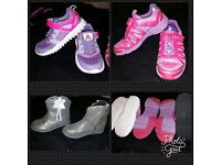 Joblot 3.pairs Girls size 9.5/10 Reebok trainers, light up trainers, boots as new £12for all
