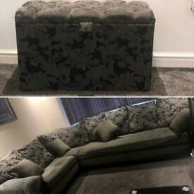 Blk faux leather and grey fabric corner sofa and stool