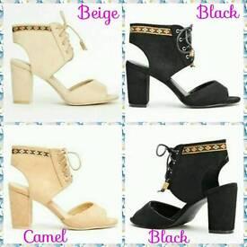 Suede Block Heel Sandals - 5, 6, & 7