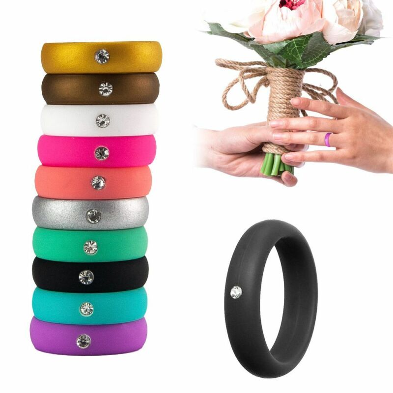 10 Pack Women Diamond Silicone Wedding Engagement Ring Rubber Band Gym Sport Us