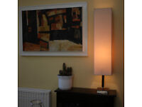 Just over 1 Meter tall square lamp, solid oak base with cream shade