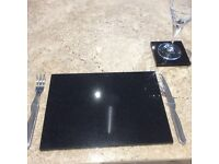 Black marble table mats and coasters