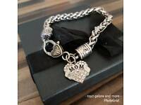 Stunning antique silver plated mom bracelet bn. Gift bagged