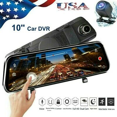 10 Car DVR Dual Lens HD 1080P Dash Cam Rear view Mirror Recorder Free Camera