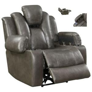 *new* Starship Genuine Leather Power Motion Recliner Chair - Charcoal