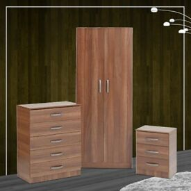 New Fully Assembled 2 Door Wardrobe with Chest of Drawers and Bedside set in Brown, White, Oak Color