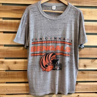 VTG 90s THIN Champion Cincinnati Bengals Helmet SINGLE STITCH NFL T Shirt L