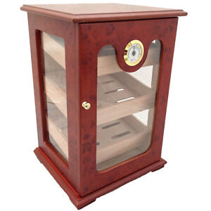 CIGAR HUMIDOR 150 ct UNIQUE - GREAT DISPLAY SHOW BOX BURLWOOD